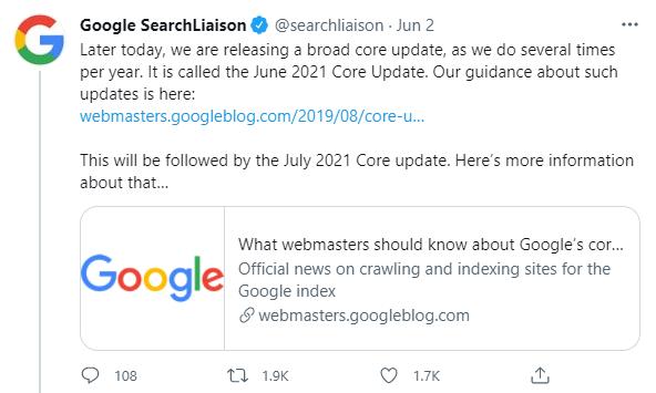 June 2021 Core Update google tweet